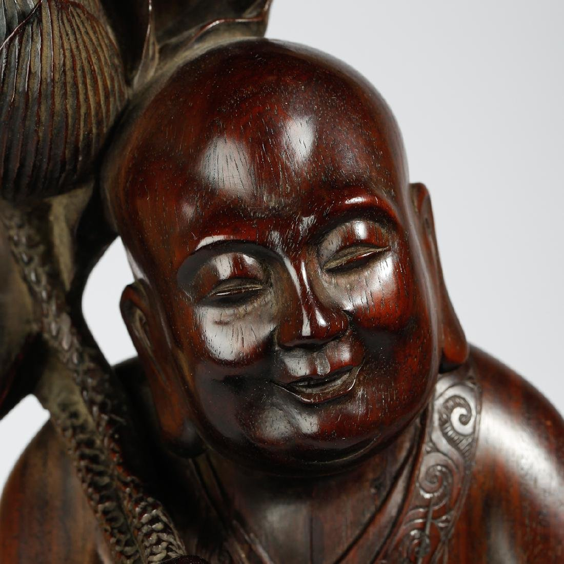CHINESE HARDWOOD CARVED FIGURE OF HEHE - 4