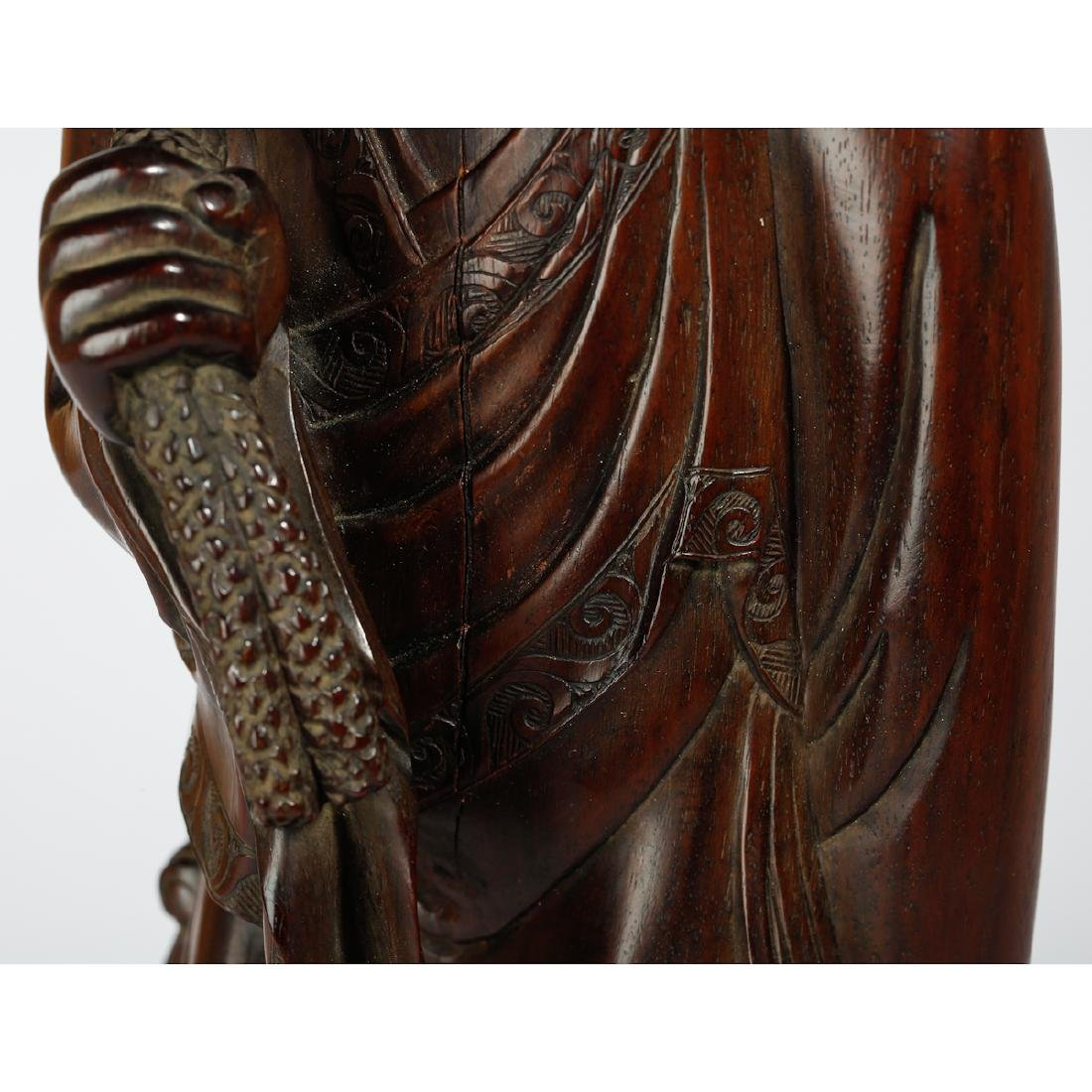 CHINESE HARDWOOD CARVED FIGURE OF HEHE - 5