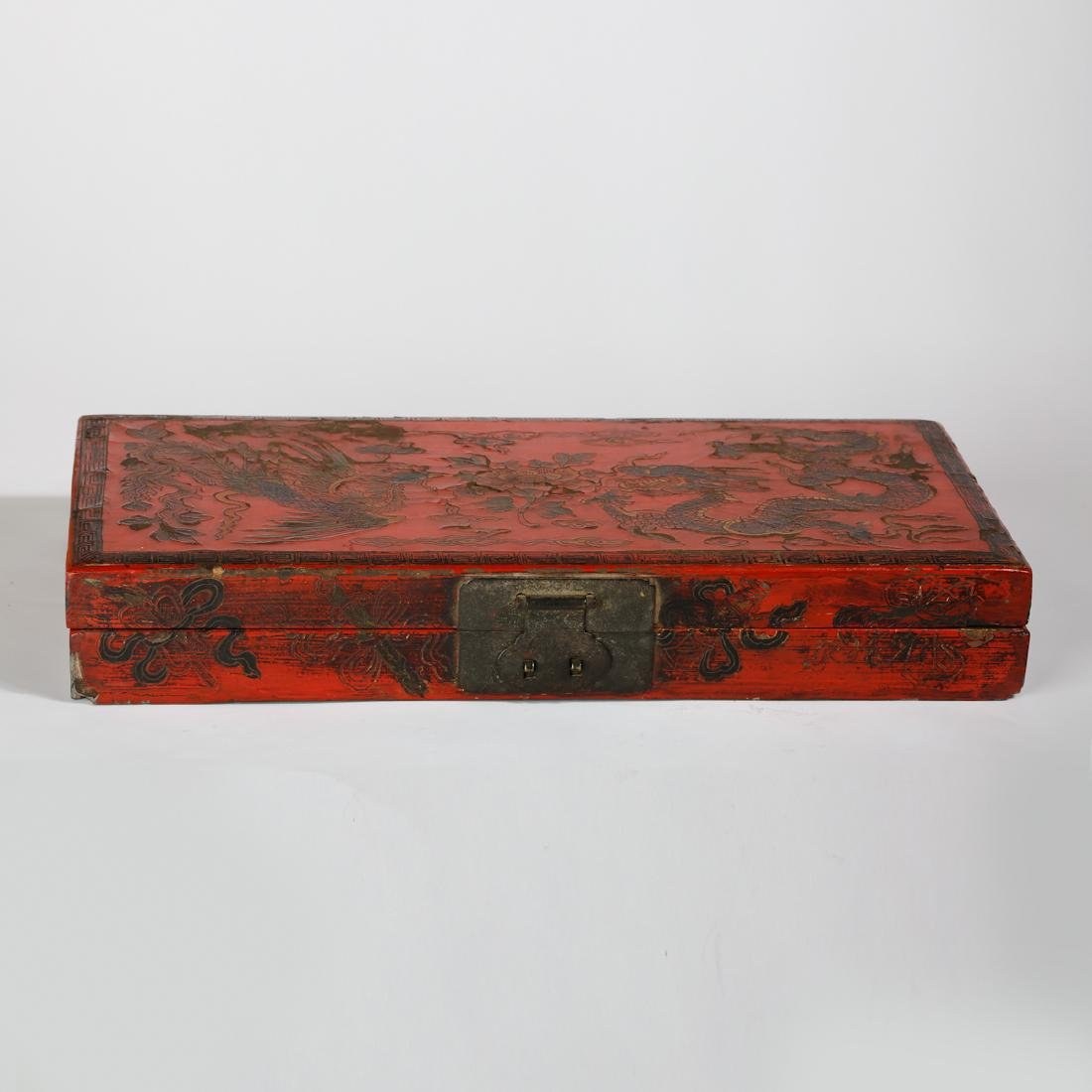 CHINESE LACQUER WOOD DRAGON AND PHOENIX BOX