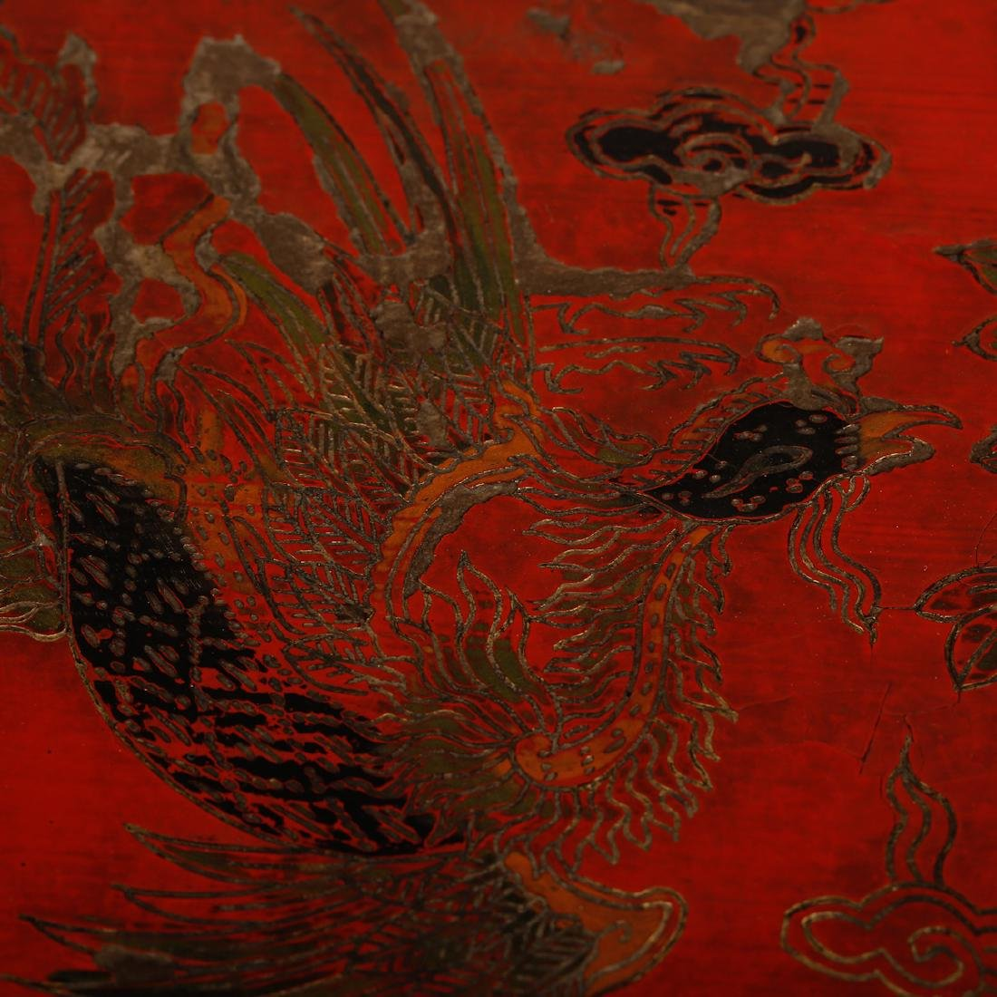 CHINESE LACQUER WOOD DRAGON AND PHOENIX BOX - 3