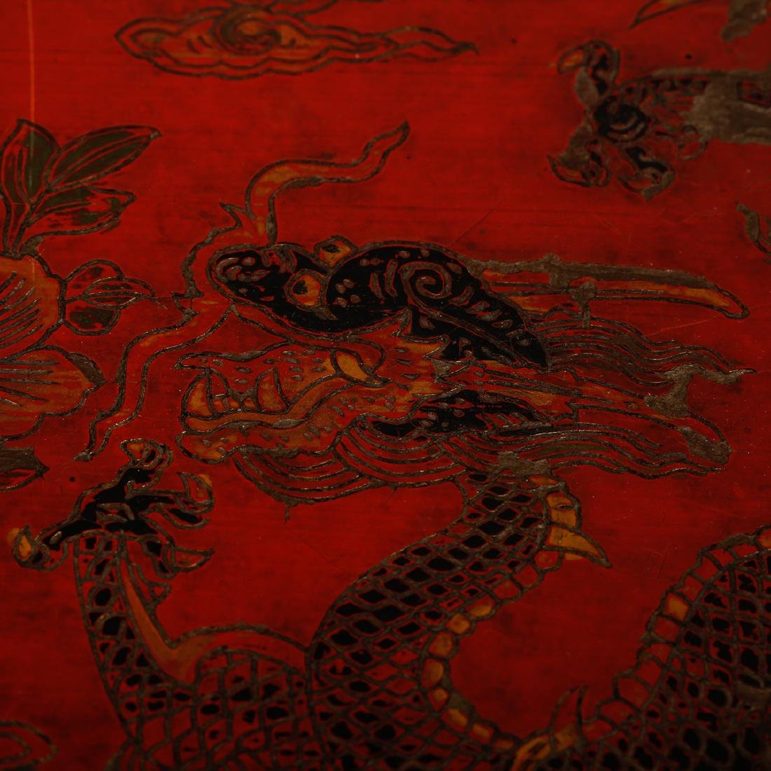 CHINESE LACQUER WOOD DRAGON AND PHOENIX BOX - 4