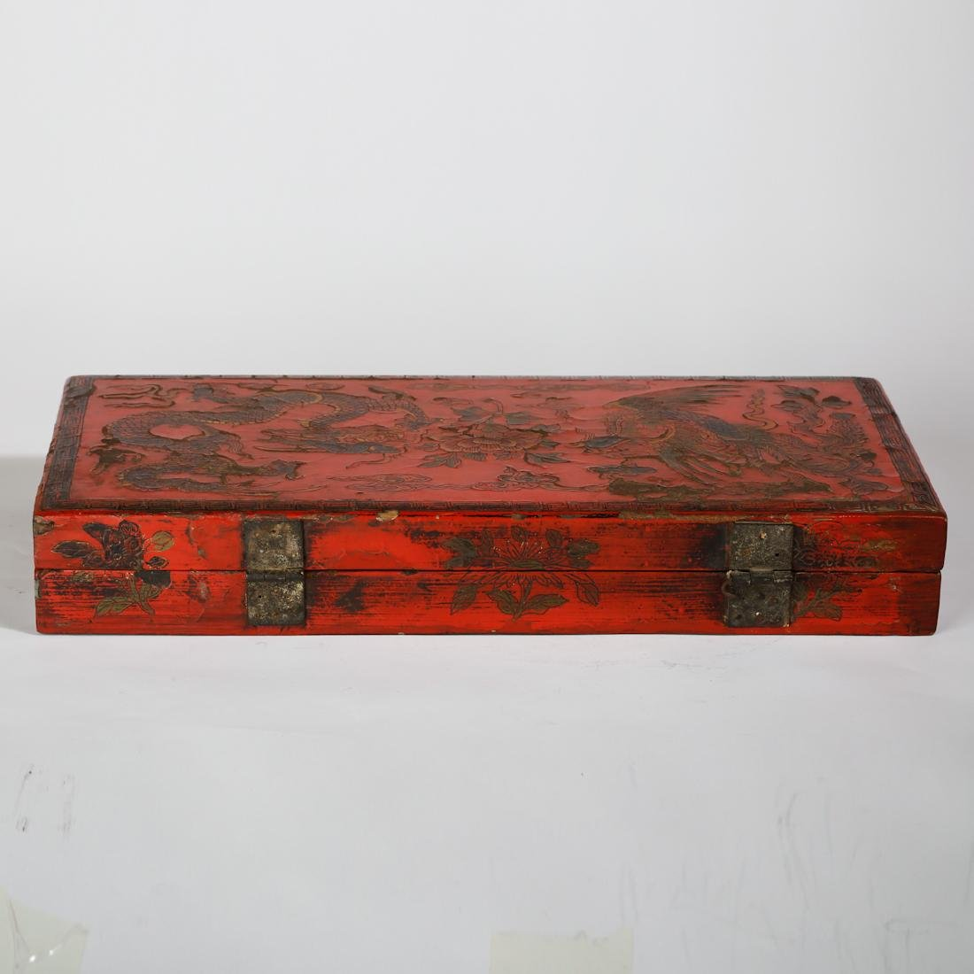 CHINESE LACQUER WOOD DRAGON AND PHOENIX BOX - 6