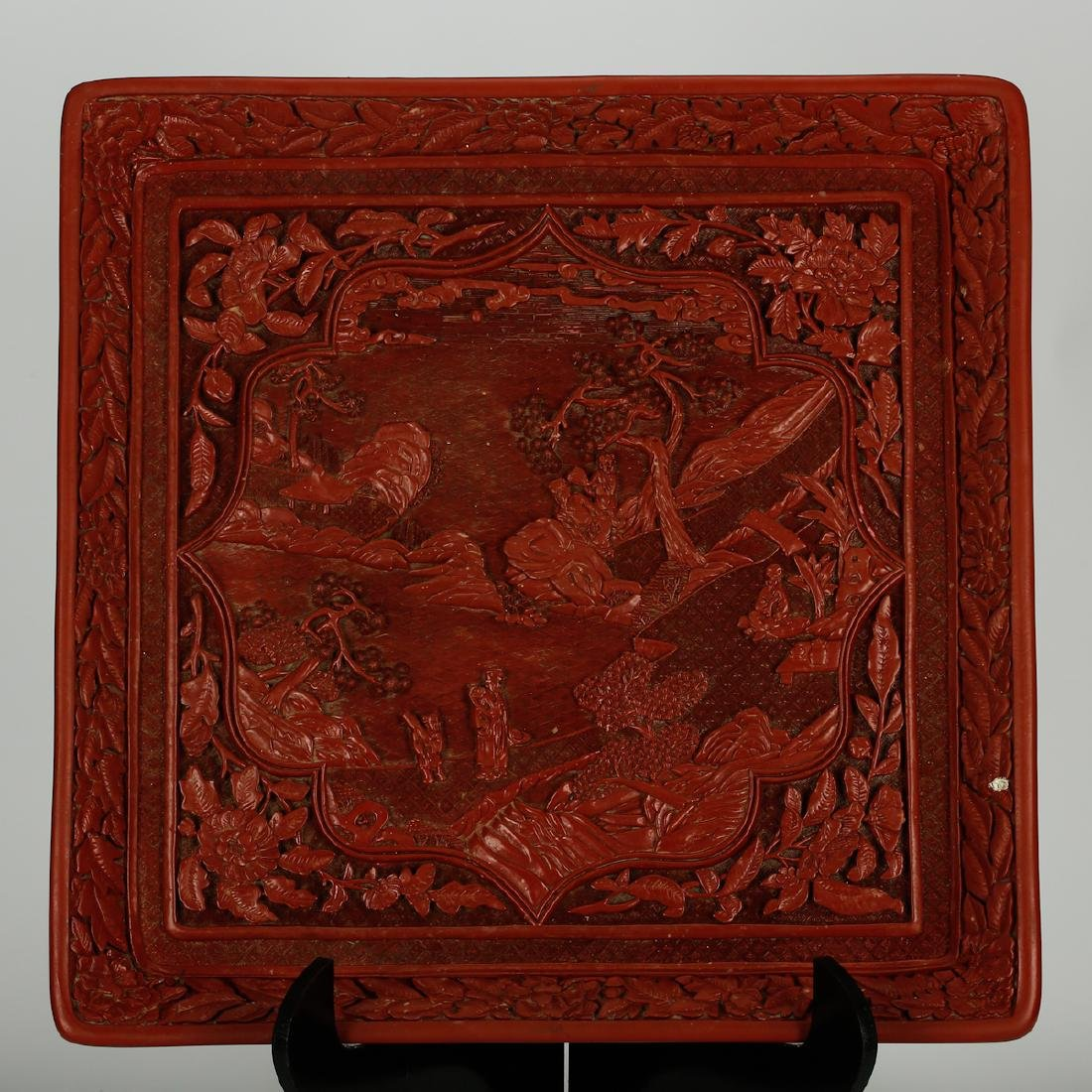 CHINESE CINNABAR LACQUER DISPLAY TRAY