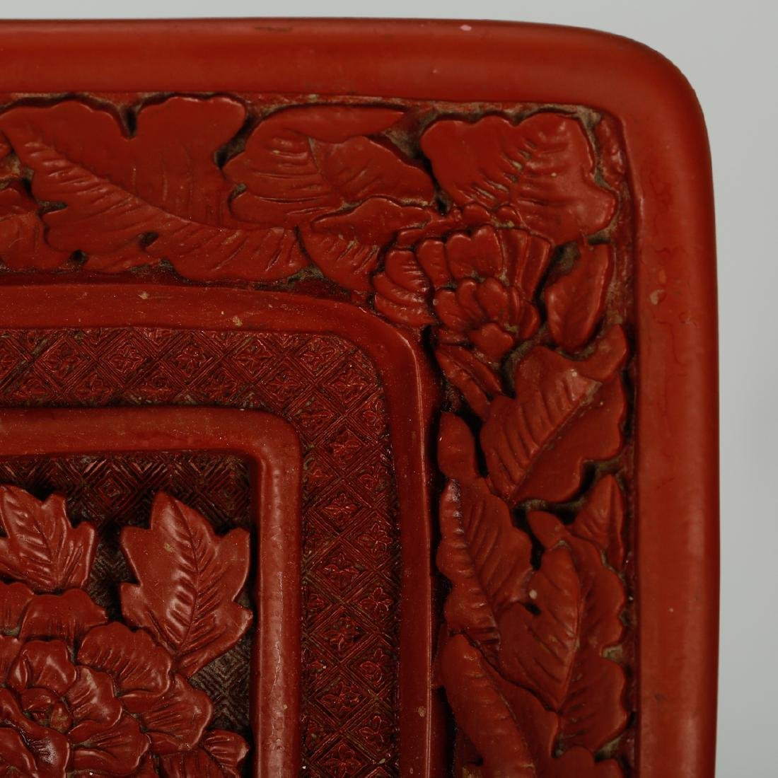 CHINESE CINNABAR LACQUER DISPLAY TRAY - 3