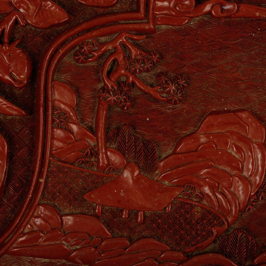 CHINESE CINNABAR LACQUER DISPLAY TRAY - 4