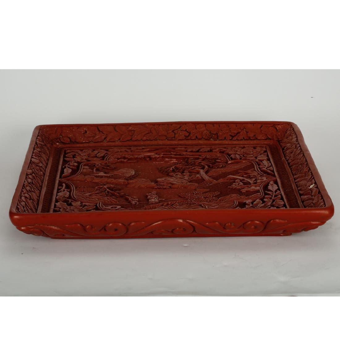 CHINESE CINNABAR LACQUER DISPLAY TRAY - 5