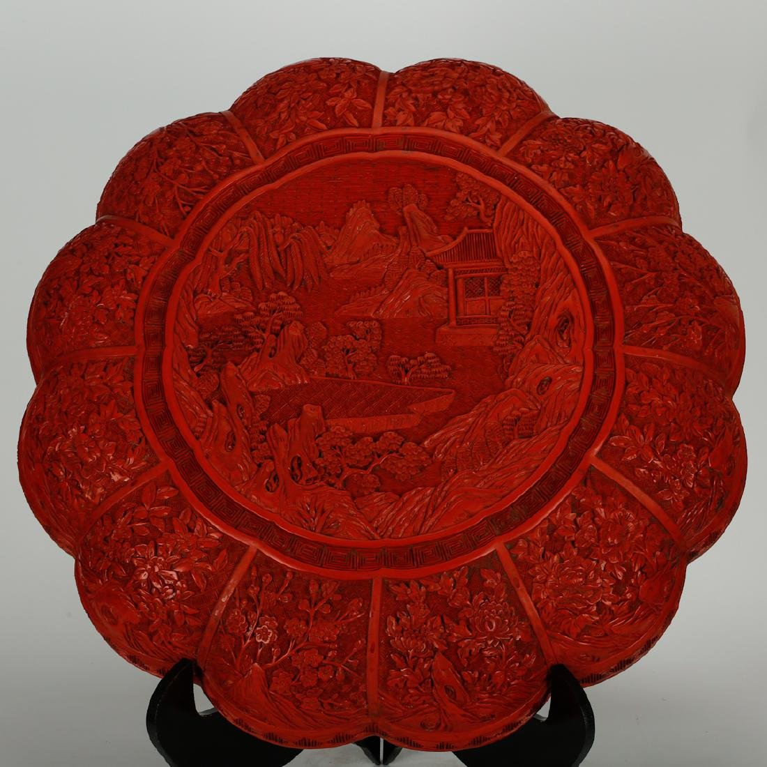 CHINESE CINNABAR LACQUER COVER BOX - 2