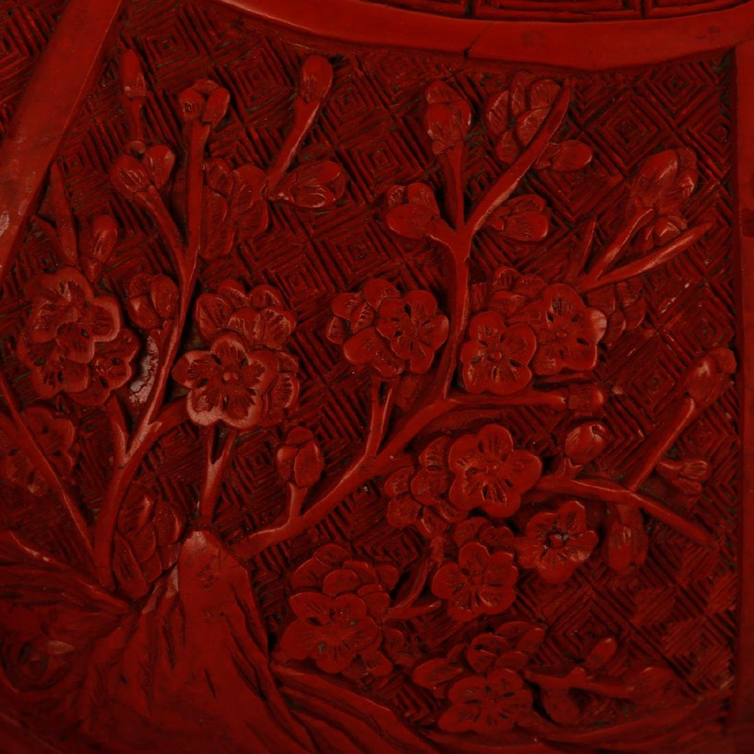 CHINESE CINNABAR LACQUER COVER BOX - 5