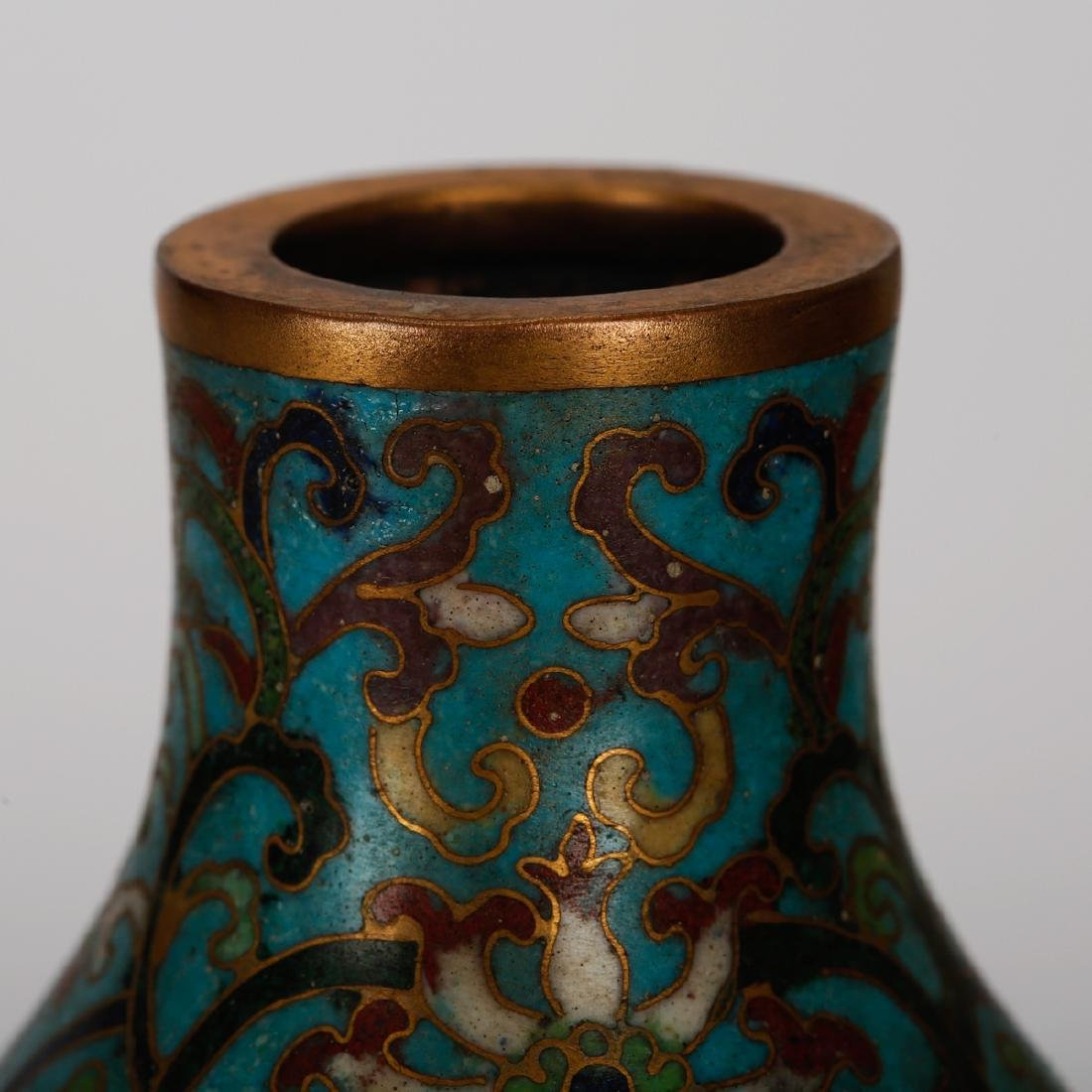 CHINESE CLOISONNE DOUBLE GOURD VASE - 3