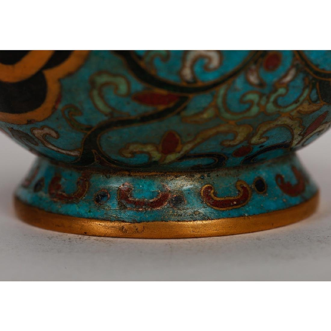 CHINESE CLOISONNE DOUBLE GOURD VASE - 4