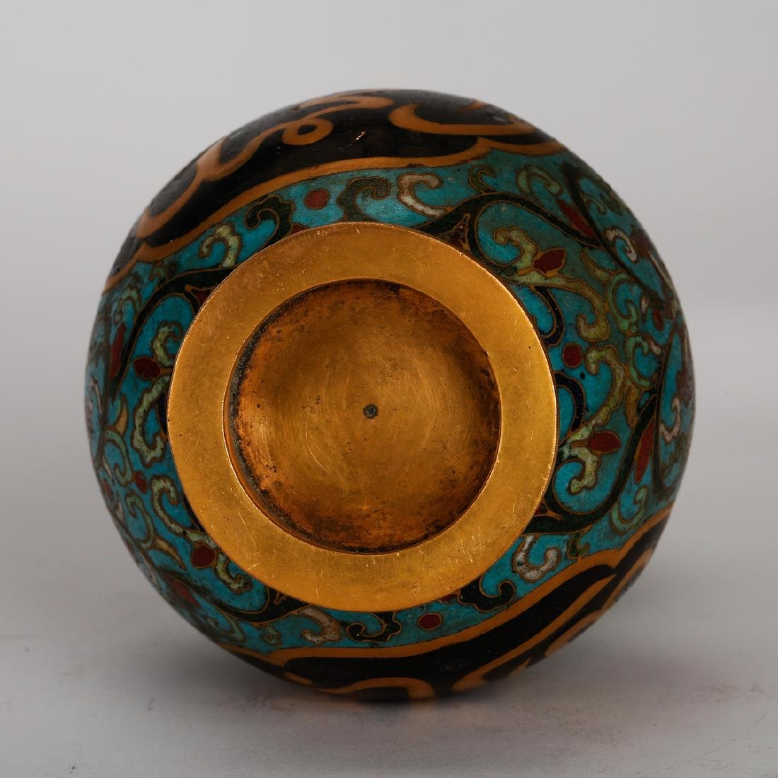 CHINESE CLOISONNE DOUBLE GOURD VASE - 5