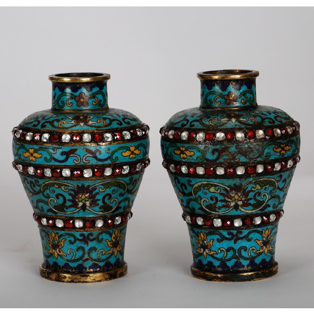 CHINESE CLOISONNE VASES WITH INLAID, PAIR