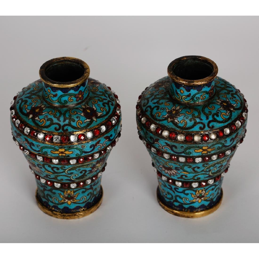 CHINESE CLOISONNE VASES WITH INLAID, PAIR - 2