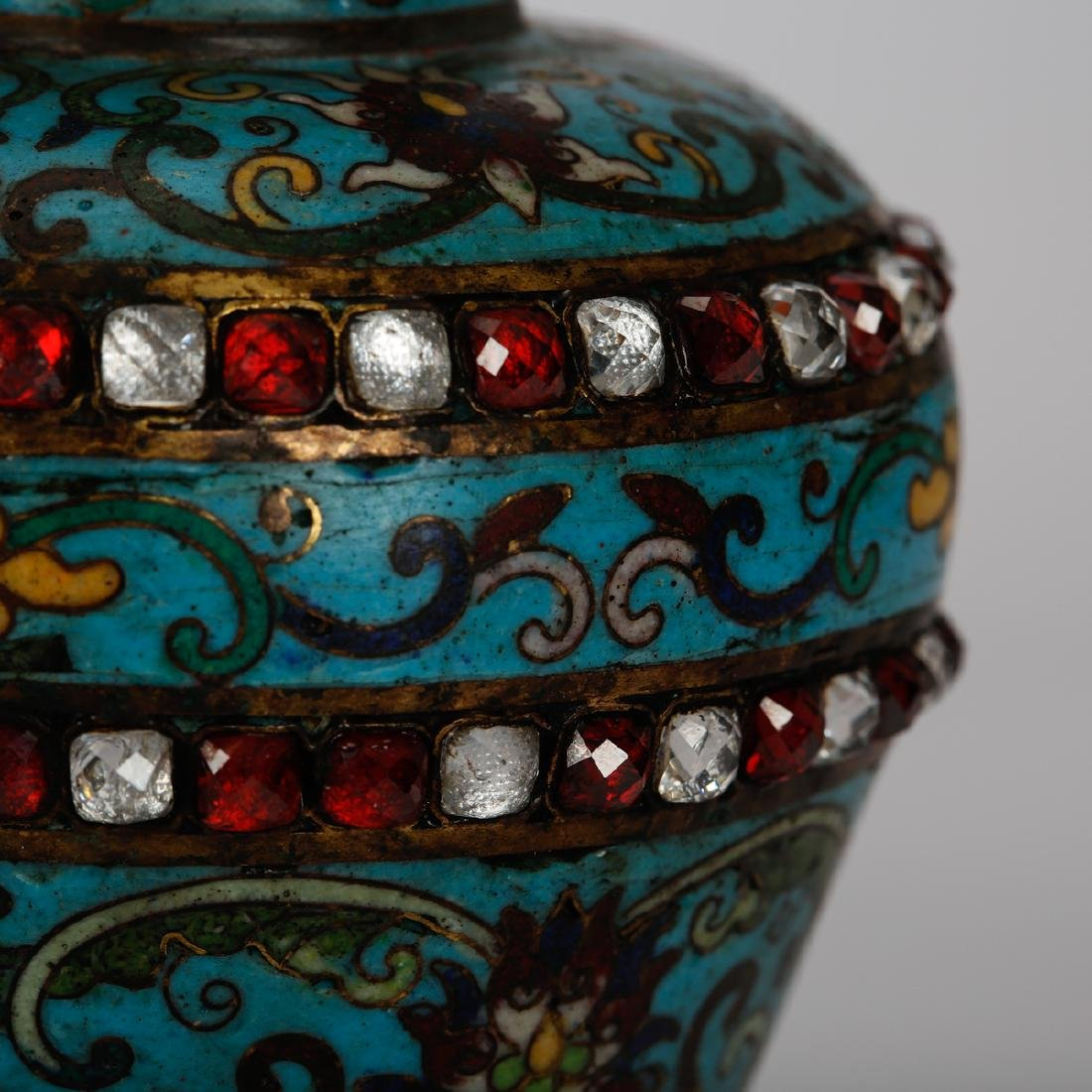 CHINESE CLOISONNE VASES WITH INLAID, PAIR - 4
