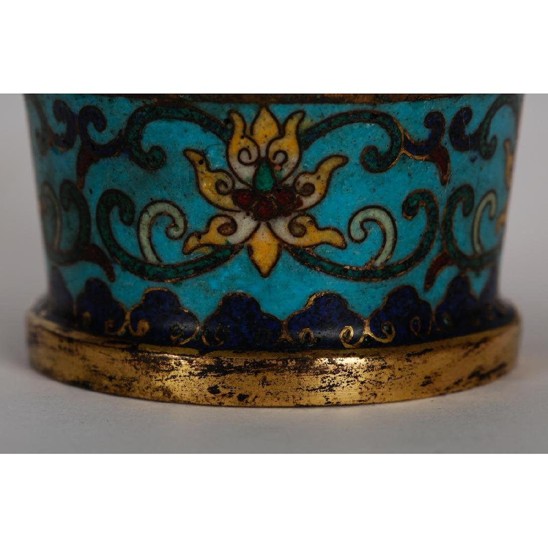 CHINESE CLOISONNE VASES WITH INLAID, PAIR - 5