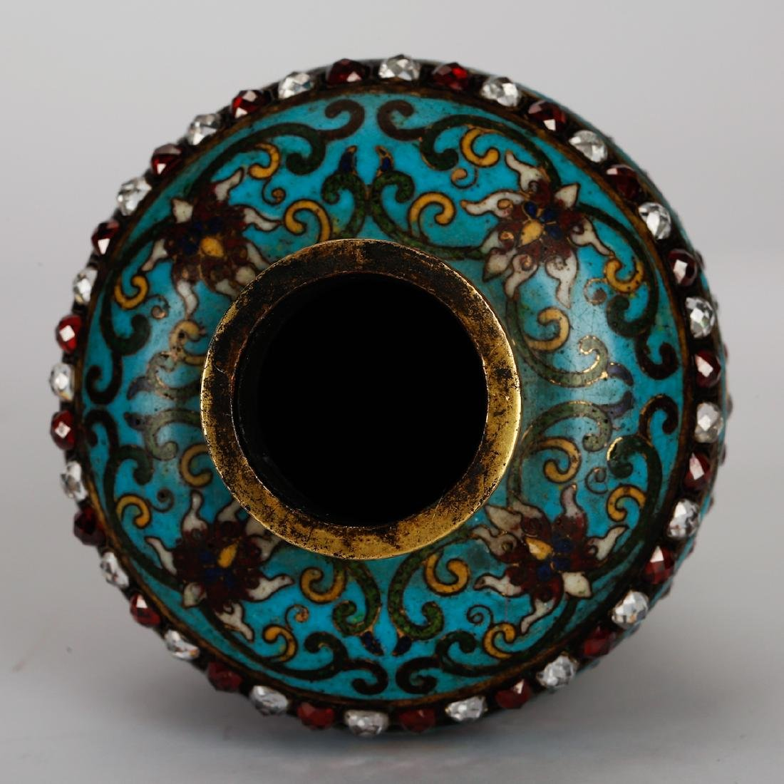 CHINESE CLOISONNE VASES WITH INLAID, PAIR - 6