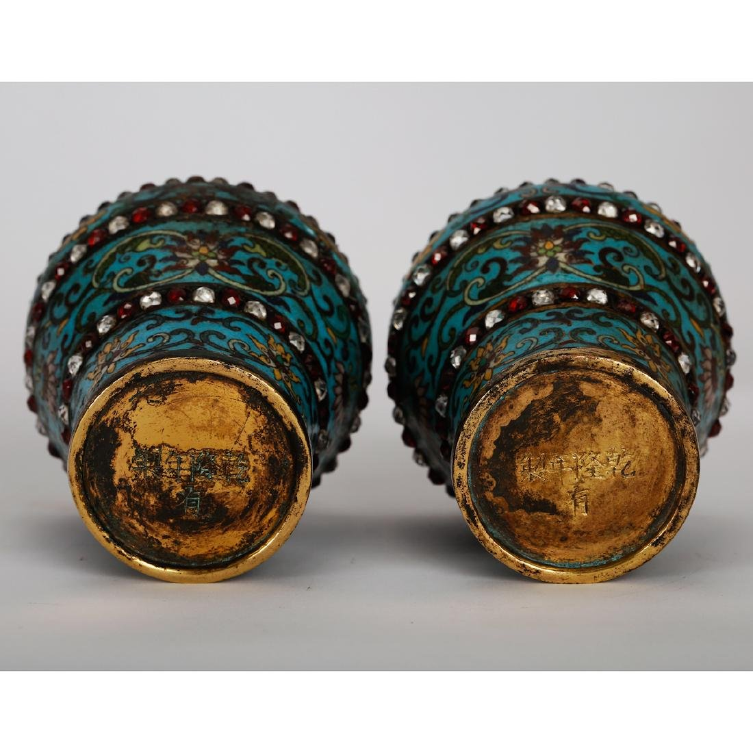 CHINESE CLOISONNE VASES WITH INLAID, PAIR - 7