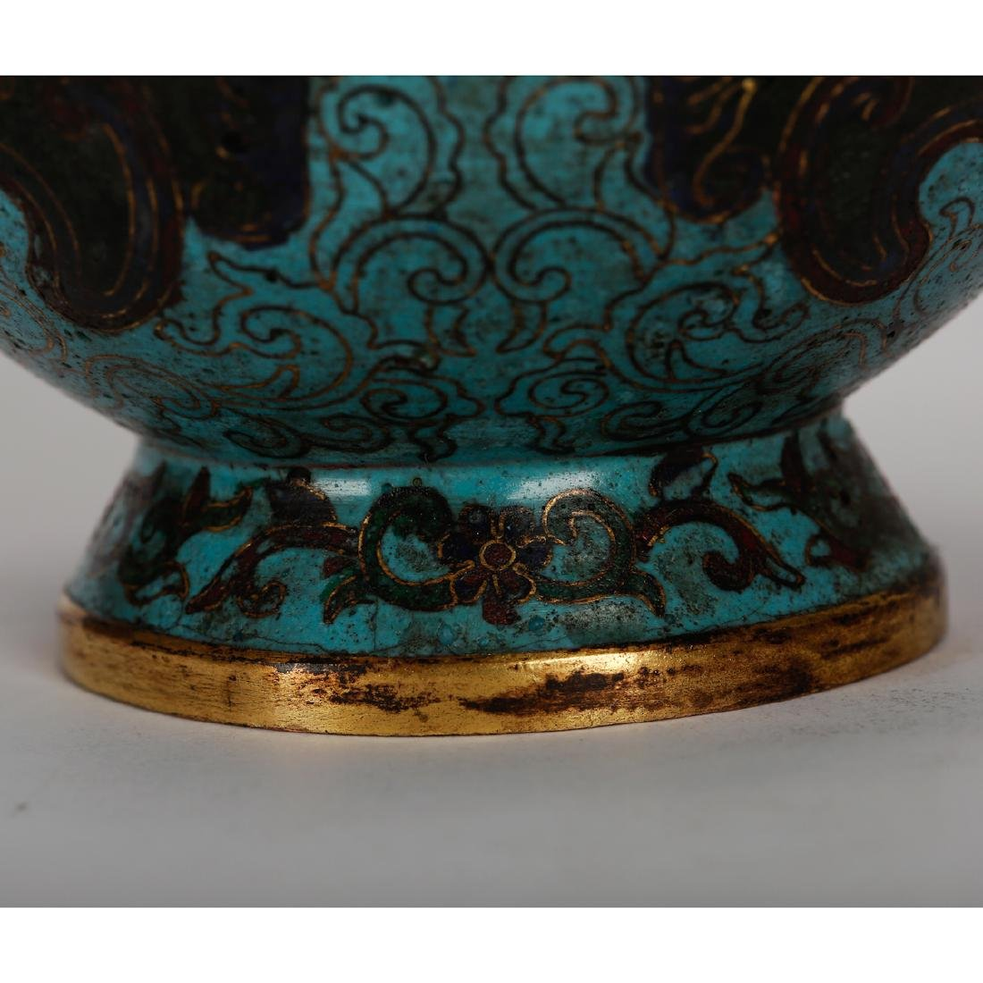 CHINESE CLOISONNE VASE WITH TAOTIE MASK - 5