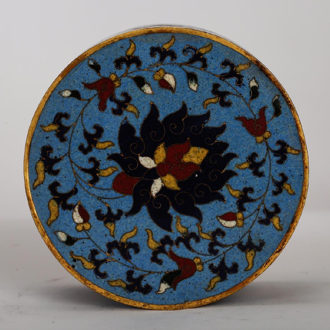 CHINESE CLOISONNE COVER BOX - 3