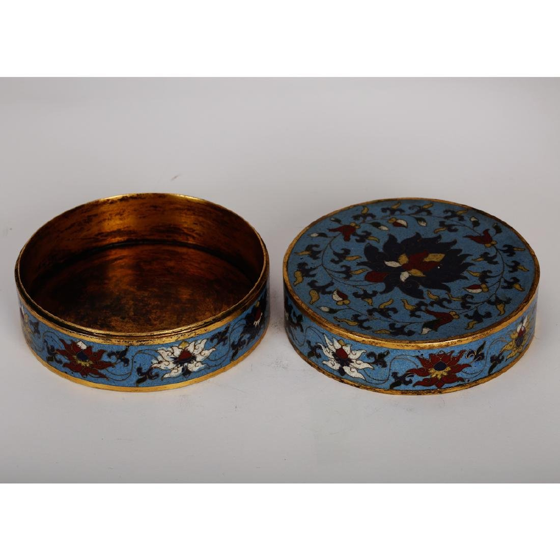 CHINESE CLOISONNE COVER BOX - 4