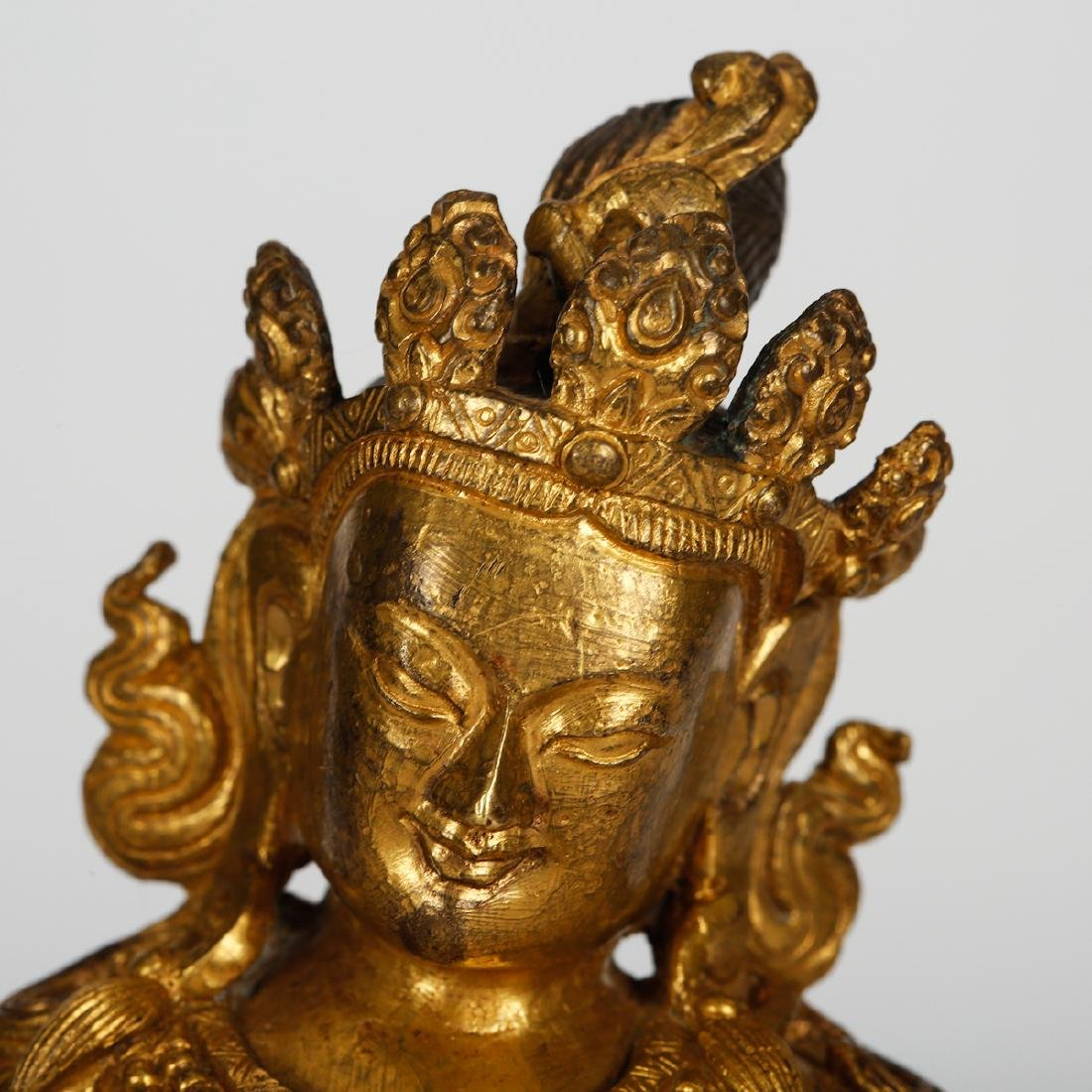 CHINESE GILT BRONZE SEATED BUDDHA - 2