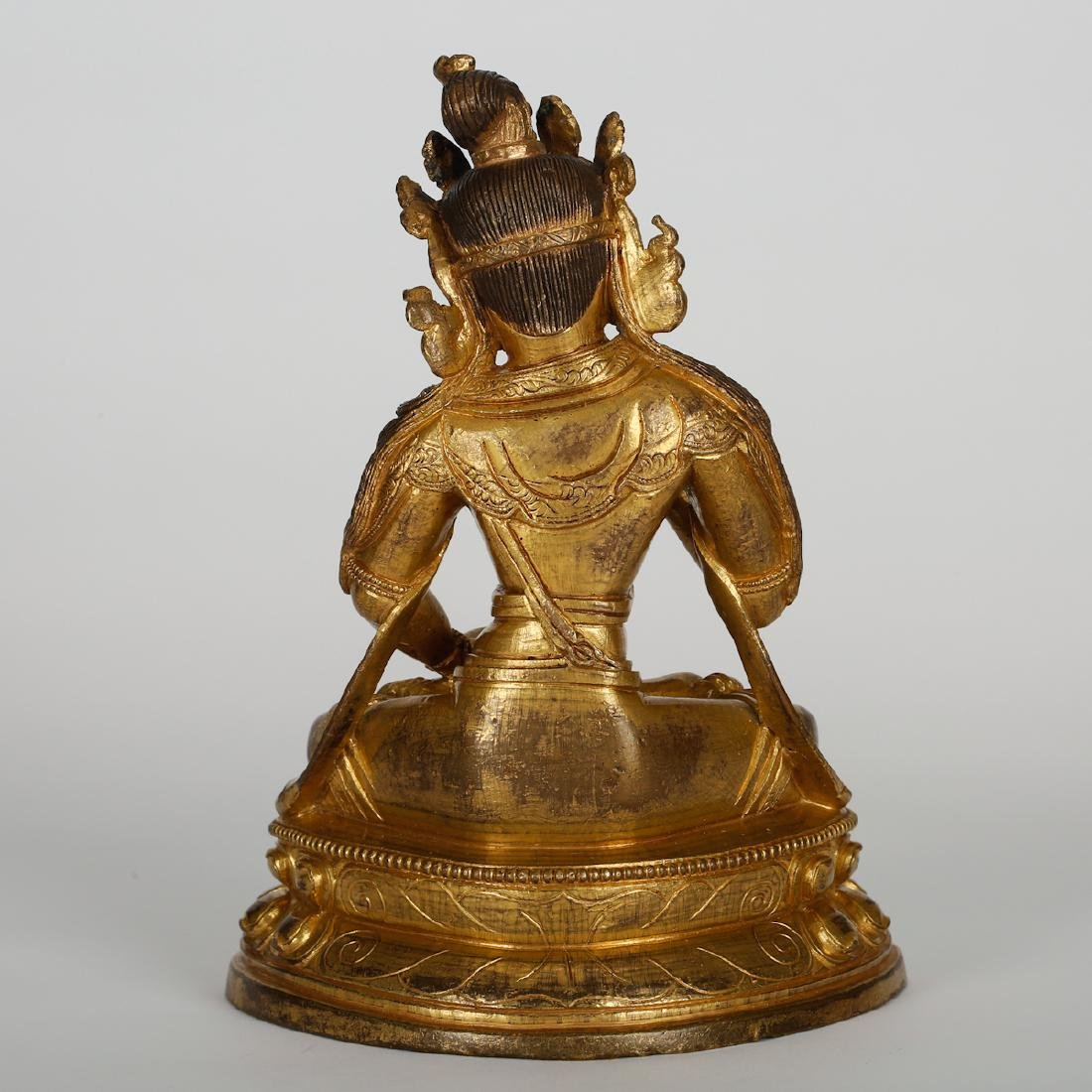 CHINESE GILT BRONZE SEATED BUDDHA - 7