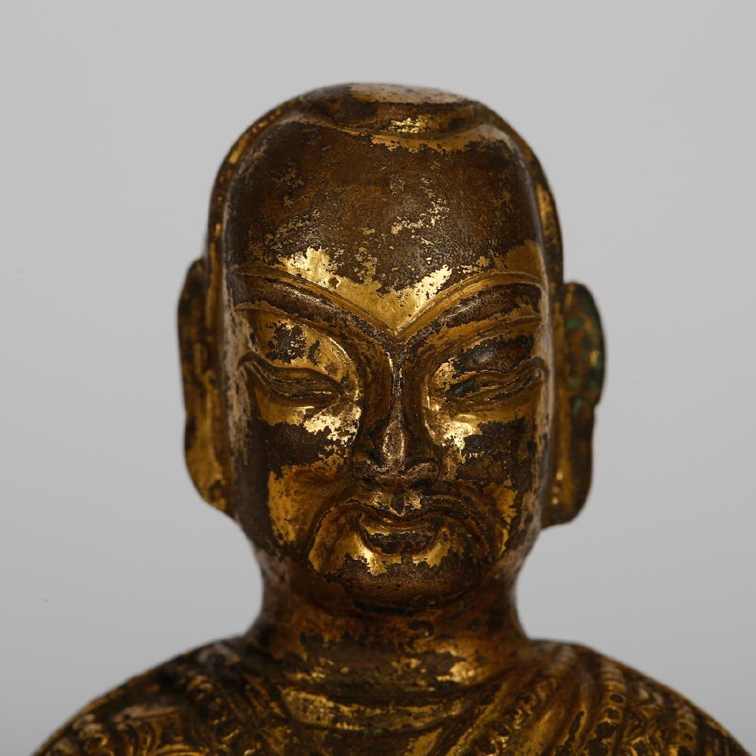CHINESE GILT BRONZE SEATED LOHAN - 2
