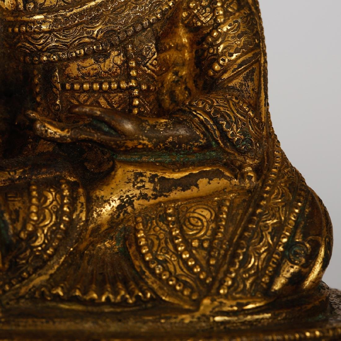 CHINESE GILT BRONZE SEATED LOHAN - 3