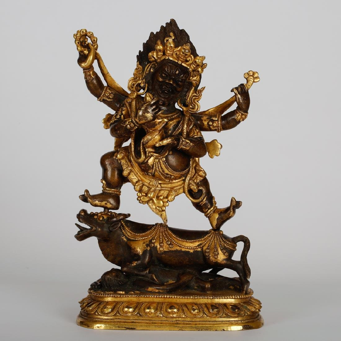 CHINESE GILT BRONZE FIGURE OF MAHAKALA