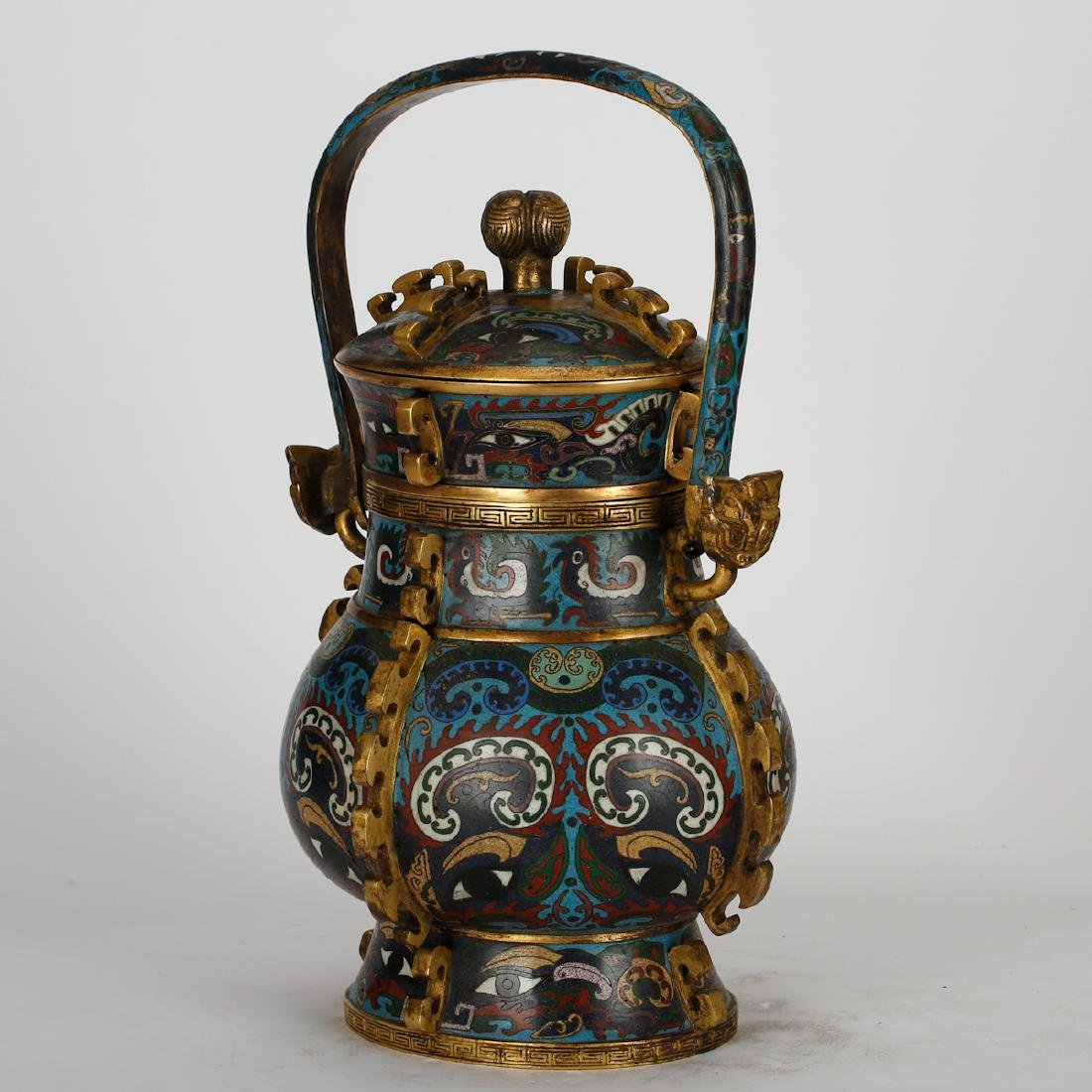 CHINESE CLOISONNE ARCHAIC STYLE VESSEL - 2