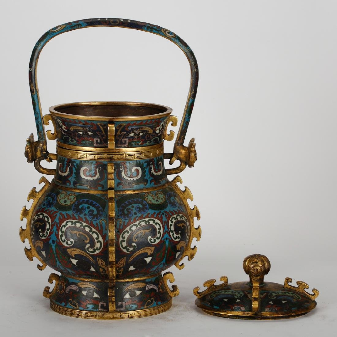 CHINESE CLOISONNE ARCHAIC STYLE VESSEL - 3