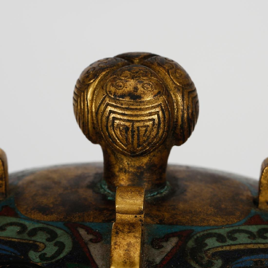 CHINESE CLOISONNE ARCHAIC STYLE VESSEL - 4