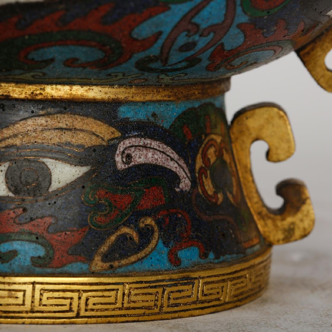 CHINESE CLOISONNE ARCHAIC STYLE VESSEL - 6