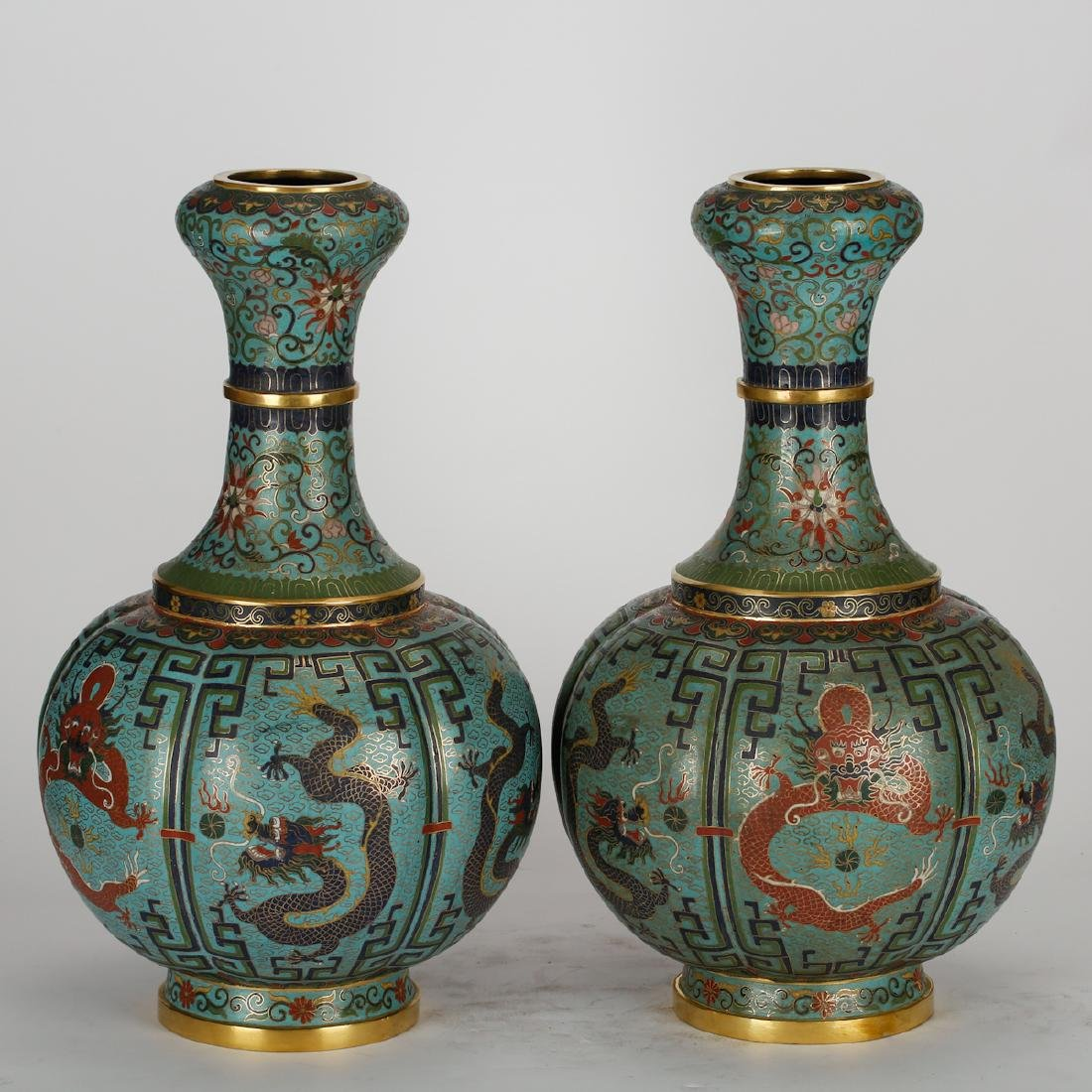 CHINESE CLOISONNE DRAGON VASES, PAIR