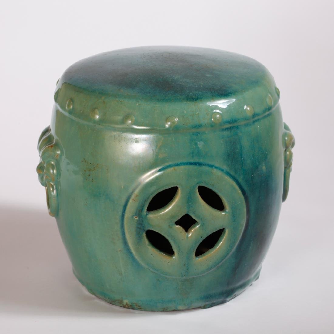 CHINESE TURQUOISE GLAZED PORCELAIN STOOL