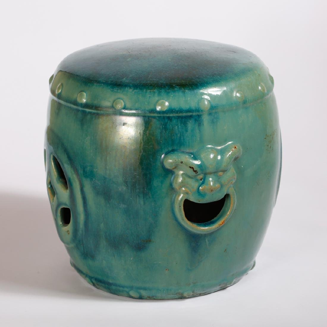 CHINESE TURQUOISE GLAZED PORCELAIN STOOL - 2