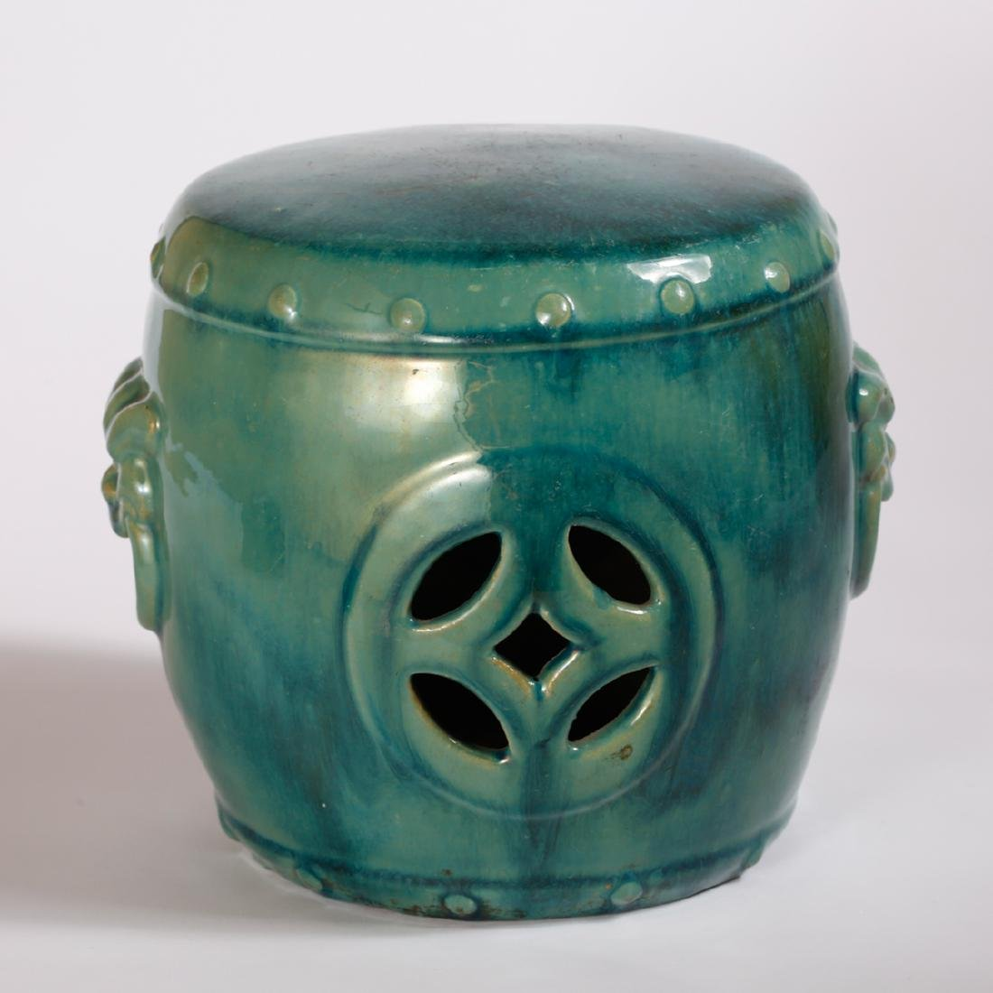 CHINESE TURQUOISE GLAZED PORCELAIN STOOL - 3