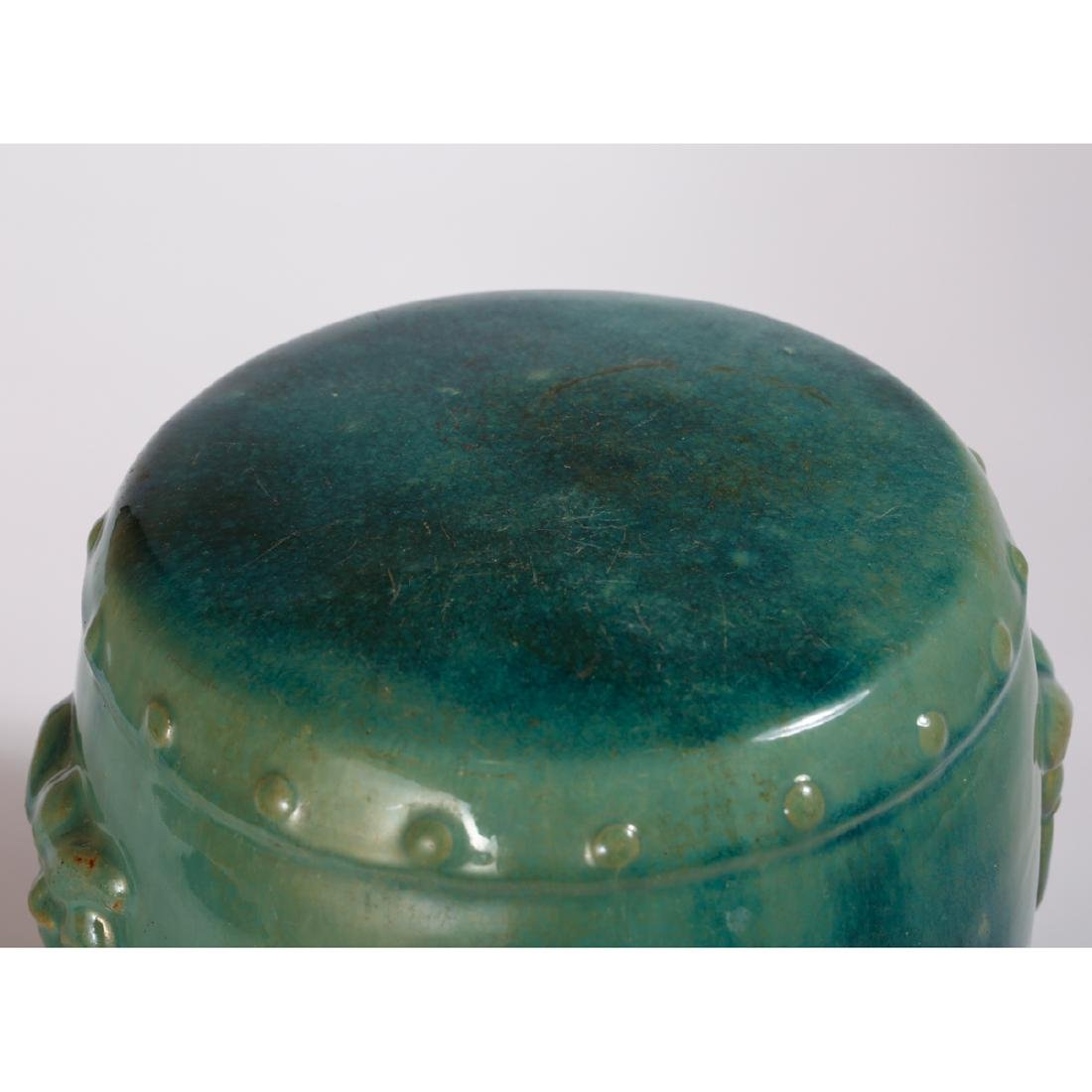 CHINESE TURQUOISE GLAZED PORCELAIN STOOL - 4