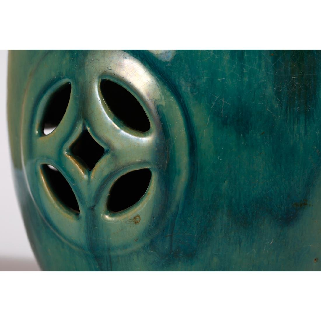CHINESE TURQUOISE GLAZED PORCELAIN STOOL - 6
