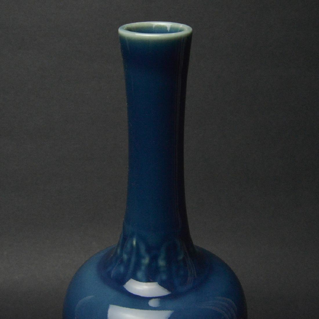 CHINESE BLUE GLAZED PORCELAIN VASE - 5