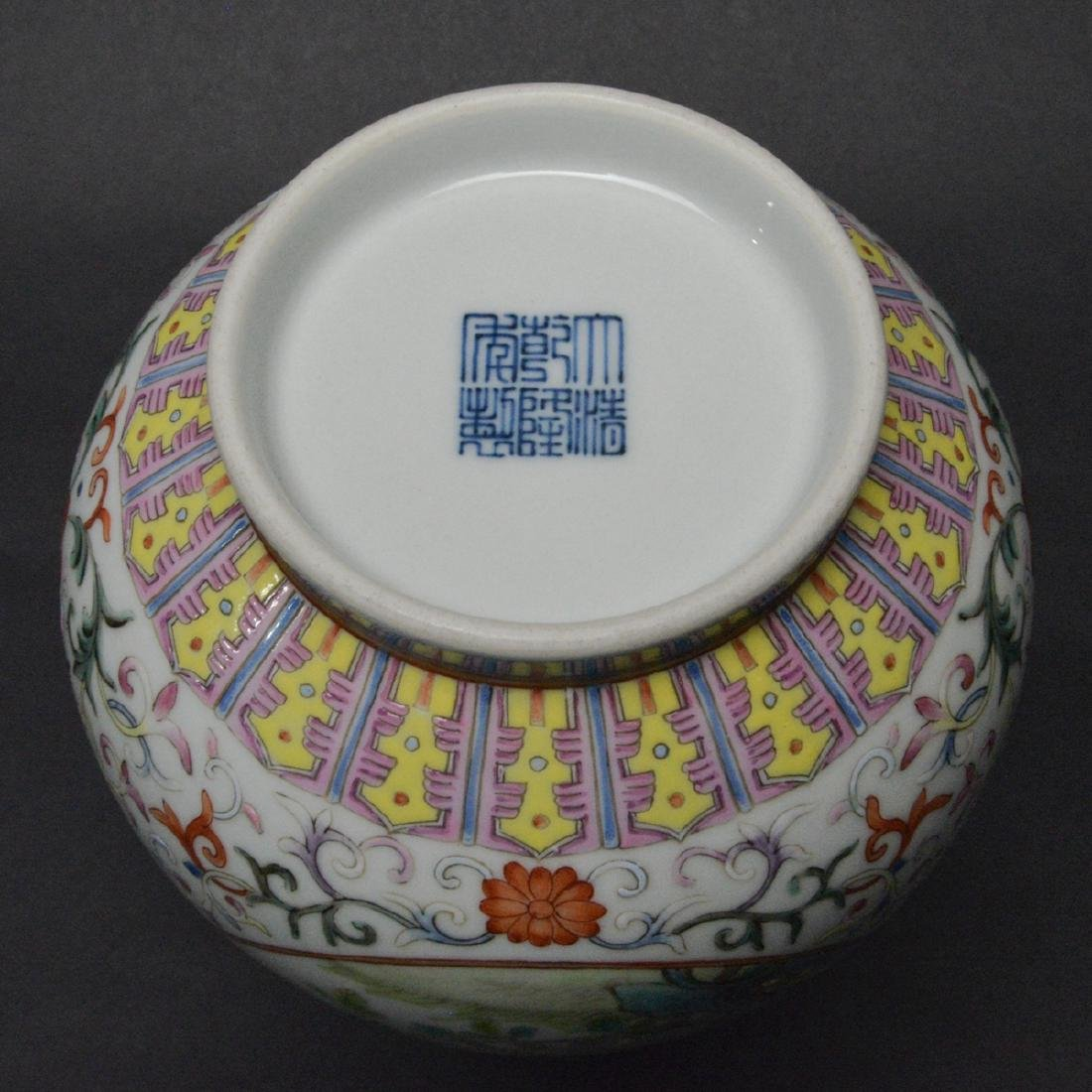 CHINESE FAMILLE ROSE PORCELAIN GARLIC HEAD VASE - 6