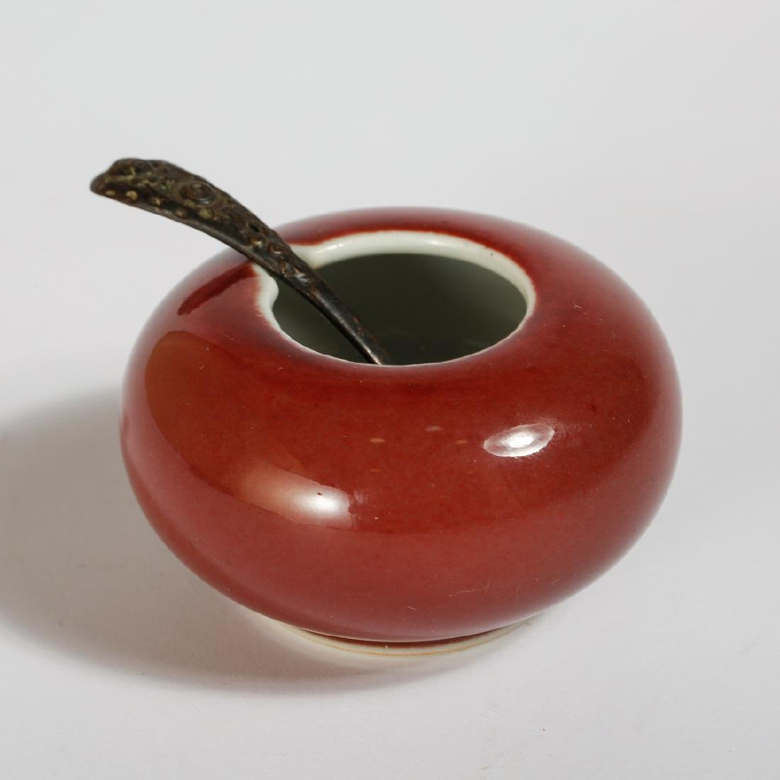 CHINESE OXBLOOD GLAZED WATER COUPE