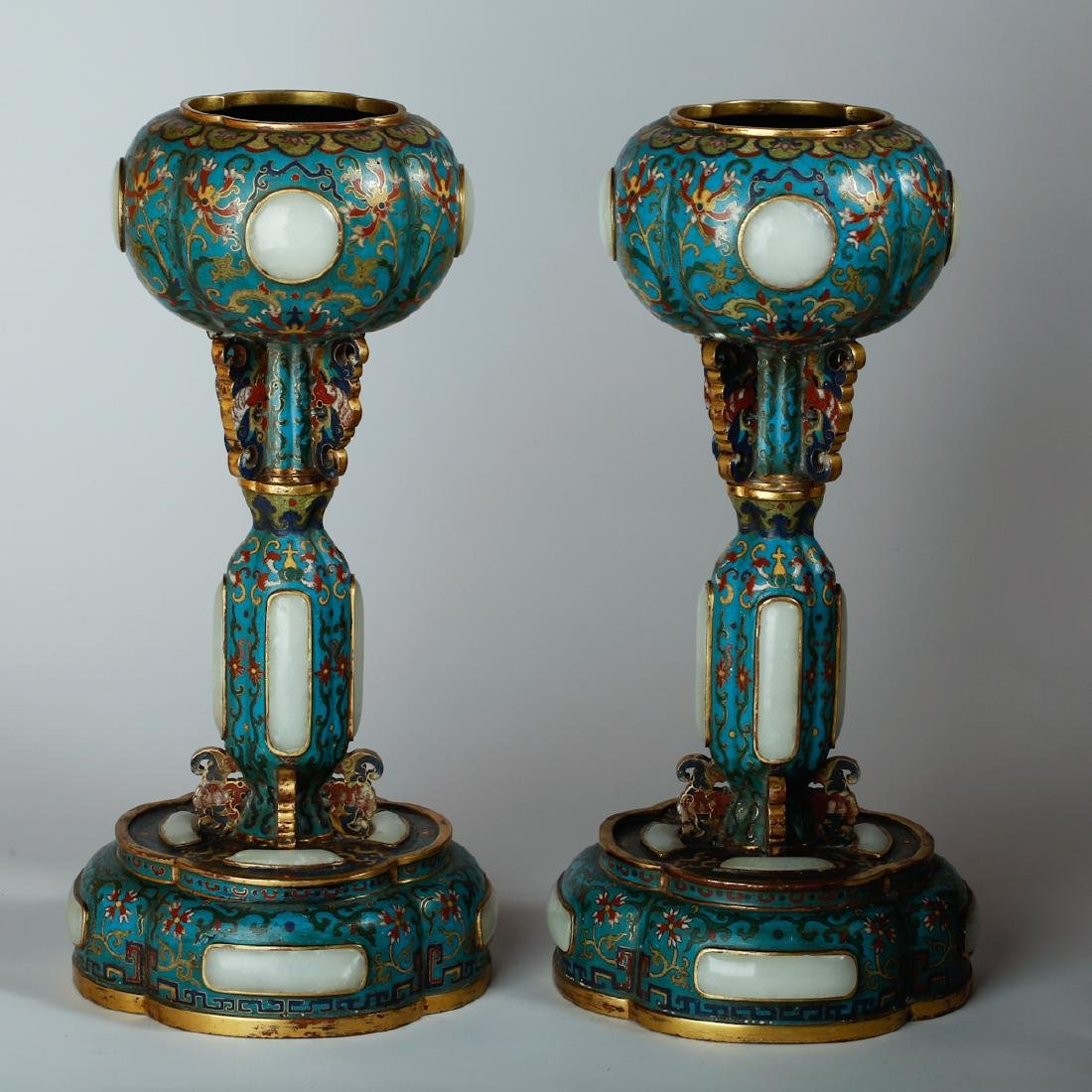CHINESE CLOISONNE HAT STANDS, PAIR