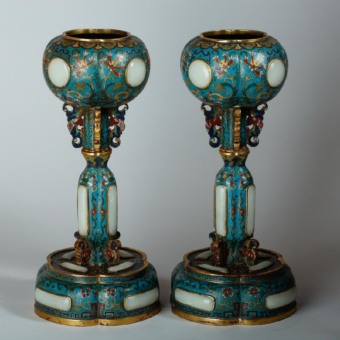 CHINESE CLOISONNE HAT STANDS, PAIR - 2