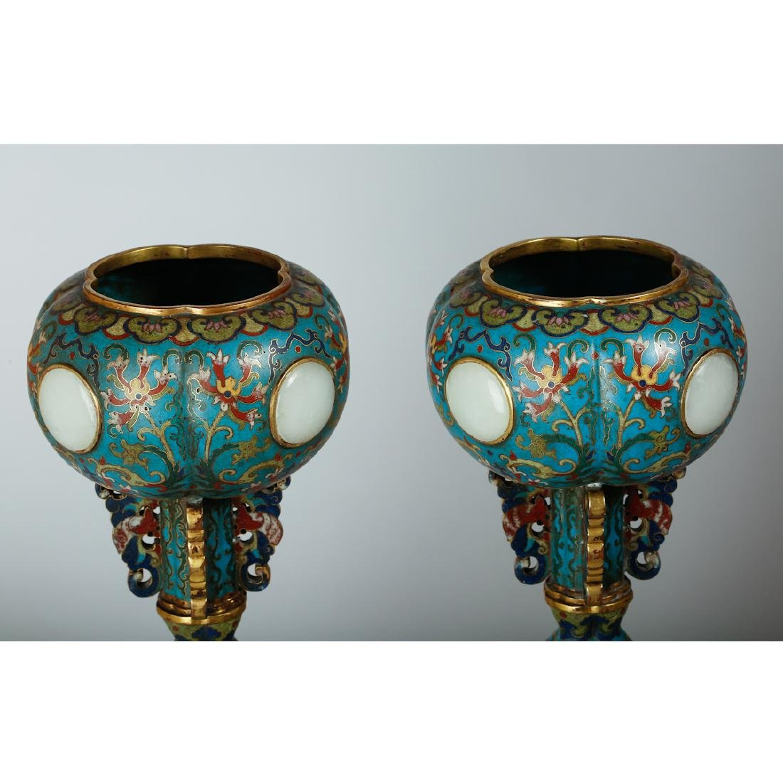 CHINESE CLOISONNE HAT STANDS, PAIR - 3