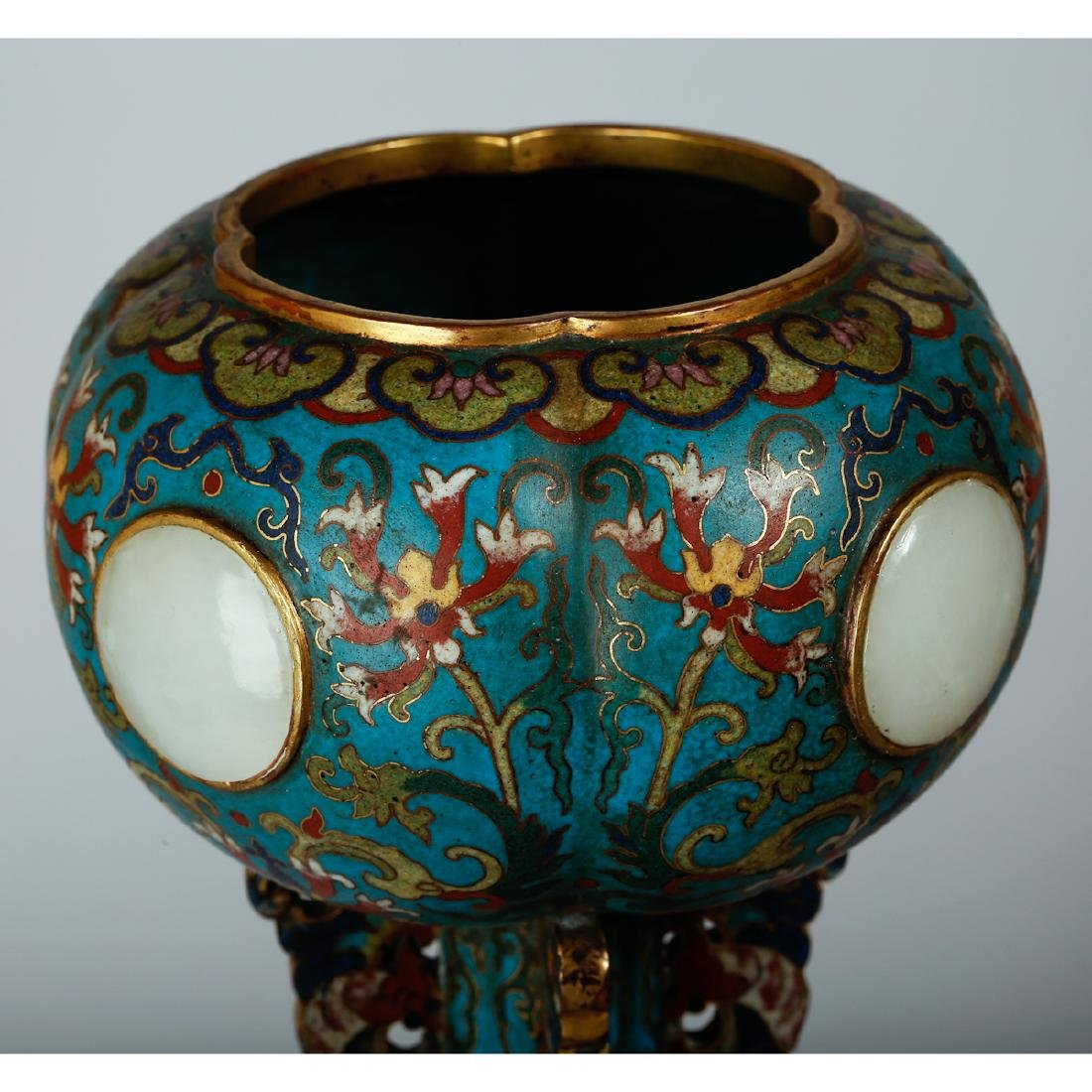 CHINESE CLOISONNE HAT STANDS, PAIR - 4