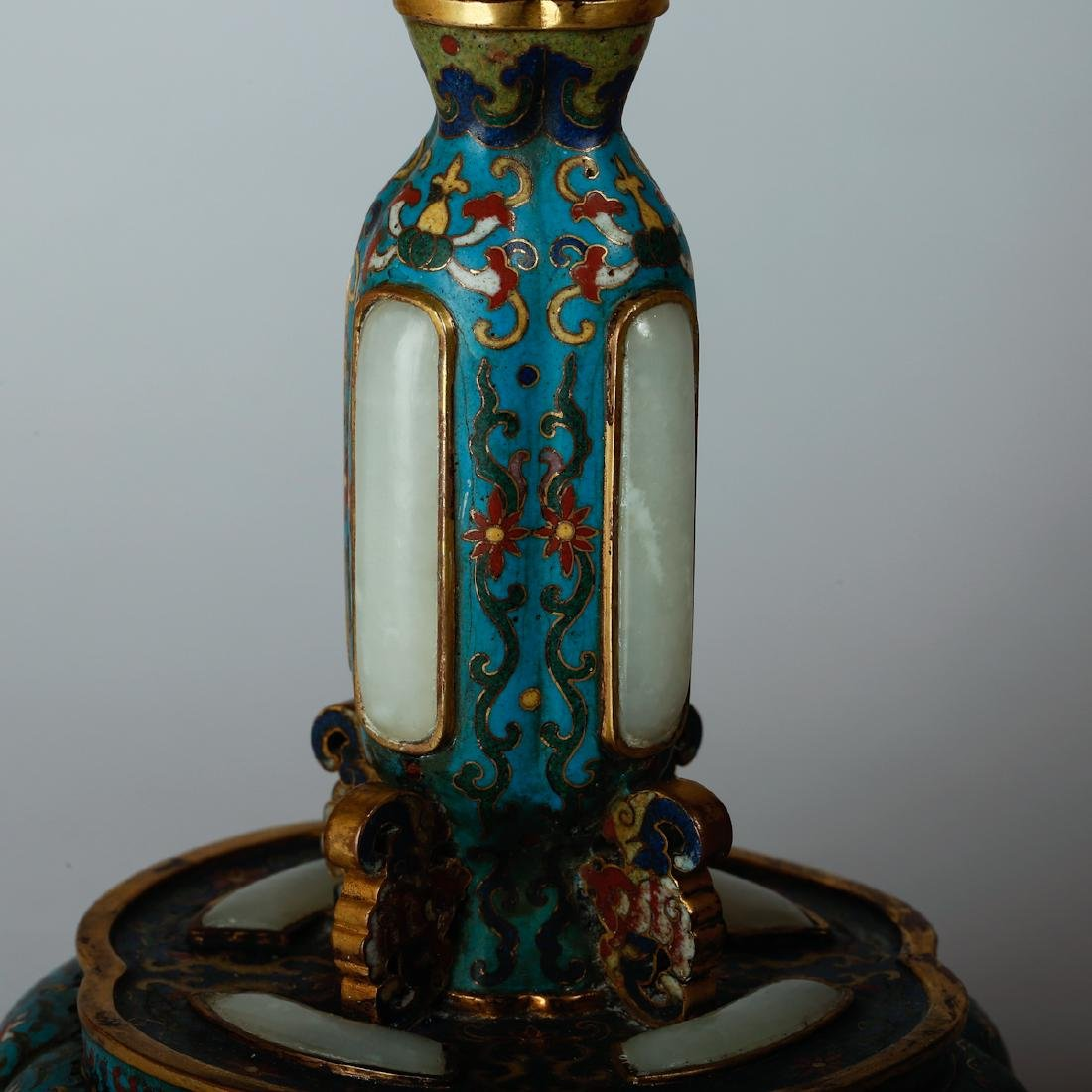 CHINESE CLOISONNE HAT STANDS, PAIR - 6