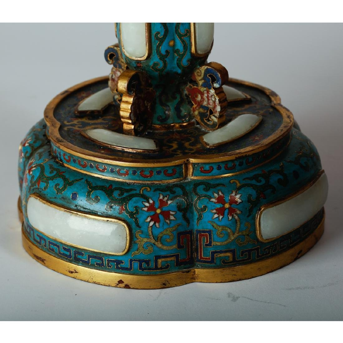 CHINESE CLOISONNE HAT STANDS, PAIR - 7