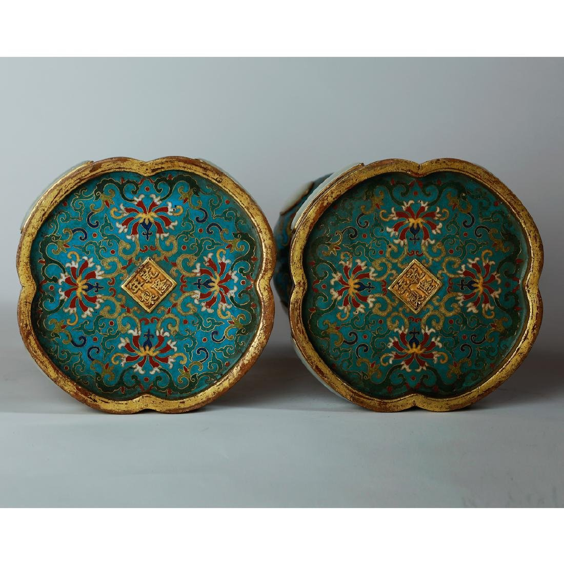 CHINESE CLOISONNE HAT STANDS, PAIR - 8
