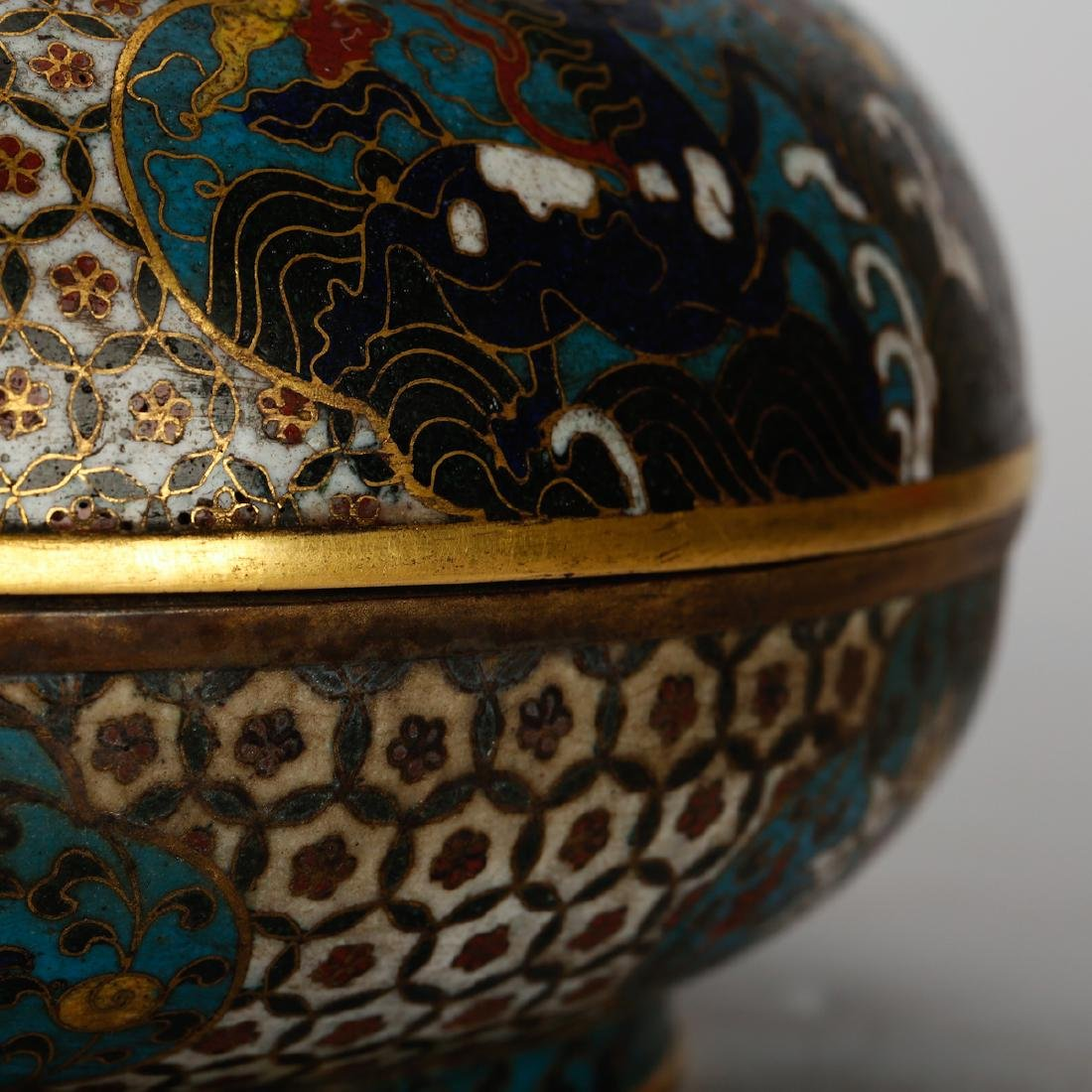 CHINESE CLOISONNE COVER BOX - 5